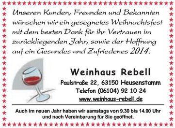 Anzeige Stadtpost Heusenstamm Weihnachten 2013